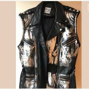 Rag union urban outfitters leather silver vest